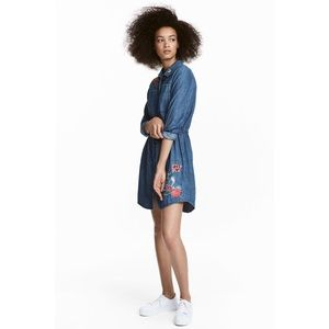 Divided H&M Embroidered Button Front Denim Dress
